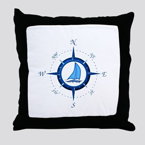 Sailboat And Blue Compass Throw Pillow