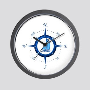 Sailboat And Blue Compass Wall Clock