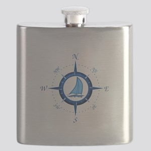 Sailboat And Blue Compass Flask
