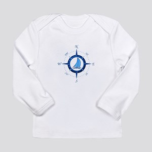 Sailboat And Blue Compass Long Sleeve T-Shirt