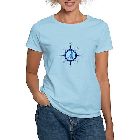 Sailboat And Blue Compass T-Shirt