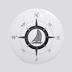 Sailboat and Compass Rose Ornament (Round)