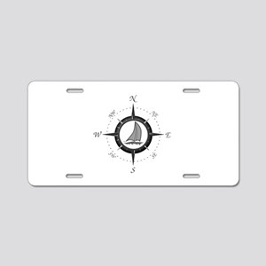 Sailboat and Compass Rose Aluminum License Plate