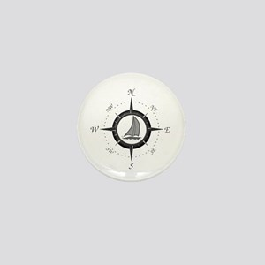 Sailboat and Compass Rose Mini Button