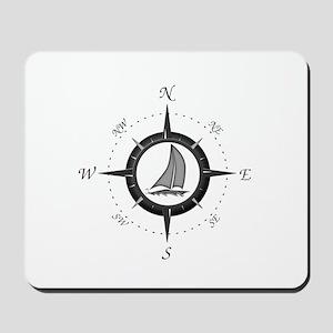 Sailboat and Compass Rose Mousepad
