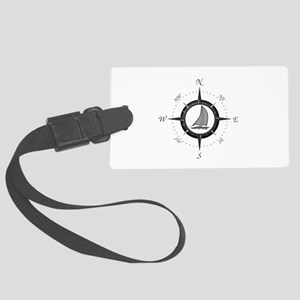 Sailboat and Compass Rose Luggage Tag