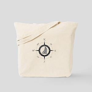 Sailboat and Compass Rose Tote Bag