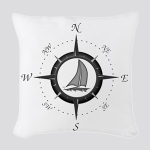 Sailboat and Compass Rose Woven Throw Pillow
