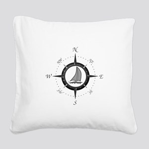 Sailboat and Compass Rose Square Canvas Pillow
