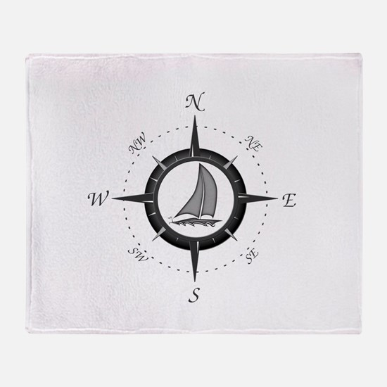 Sailboat and Compass Rose Throw Blanket