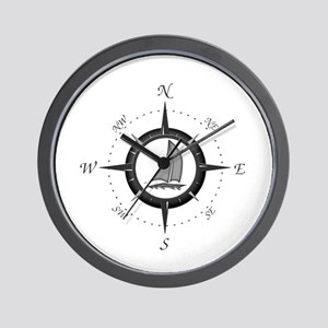 Sailboat and Compass Rose Wall Clock