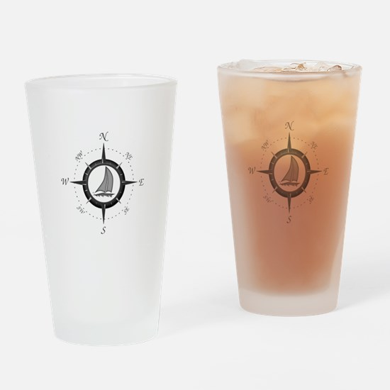 Sailboat and Compass Rose Drinking Glass