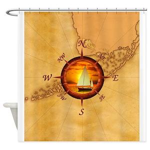 Ship Nautical Compass Shower Curtains