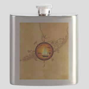 Florida Keys Map Compass Flask
