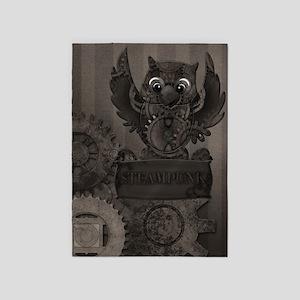 Steampunk Owl 5'x7'Area Rug