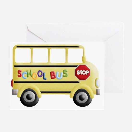 cute yellow school bus Greeting Card