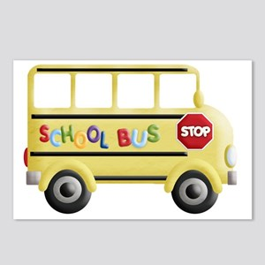 cute yellow school bus Postcards (Package of 8)