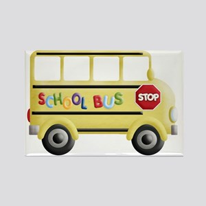 cute yellow school bus Rectangle Magnet