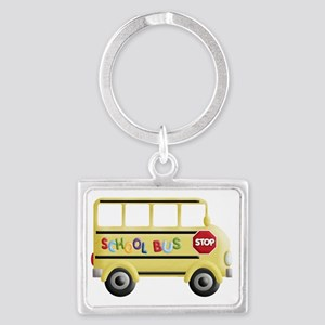 cute yellow school bus Landscape Keychain