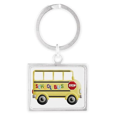cute yellow school bus Landscape Keychain