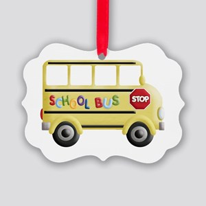 cute yellow school bus Picture Ornament