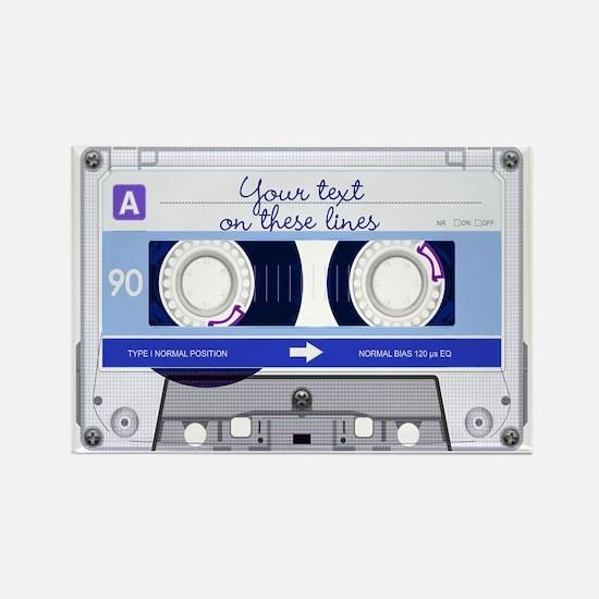 Cassette Tape - Blue Rectangle Magnet