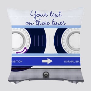 Cassette Tape - Blue Woven Throw Pillow