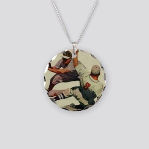 Vintage Sports Baseball Necklace Circle Charm