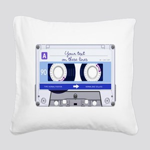 Cassette Tape - Blue Square Canvas Pillow