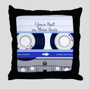 Cassette Tape - Blue Throw Pillow