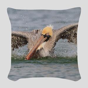 Funny Grumpy Pelican Woven Throw Pillow