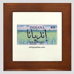 Indiana License Plate Framed Tile