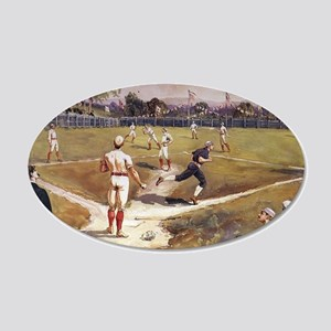 Vintage Sports Baseball 20x12 Oval Wall Decal