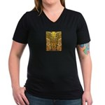 Tribal Gold Women's V-Neck Dark T-Shirt