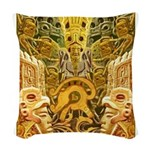 Tribal Gold Woven Throw Pillow