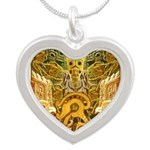 Tribal Gold Silver Heart Necklace