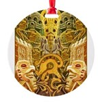 Tribal Gold Round Ornament