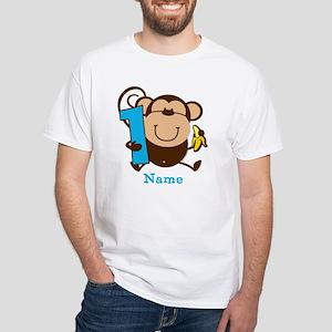 Personalized Monkey Boy 1st Birthday White T-Shirt