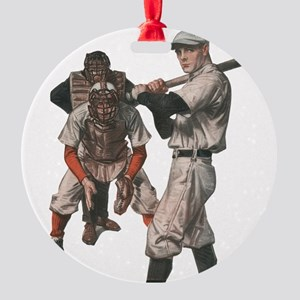 Vintage Sports Baseball Round Ornament