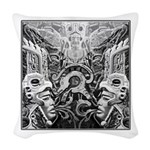 Tribal Art BW Woven Throw Pillow