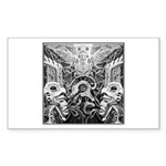 Tribal Art BW Sticker (Rectangle)