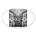 Tribal Art BW Sticker (Oval 10 pk)