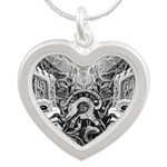 Tribal Art BW Silver Heart Necklace