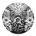 Tribal Art BW Round Car Magnet