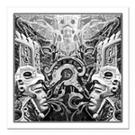 Tribal Art BW Square Car Magnet 3