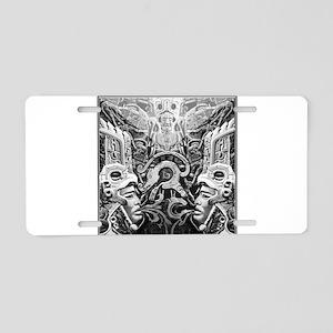 Tribal Art BW Aluminum License Plate