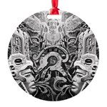 Tribal Art BW Round Ornament