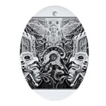 Tribal Art BW Ornament (Oval)