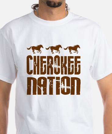 Cherokee Nation With Horses White T-Shirt