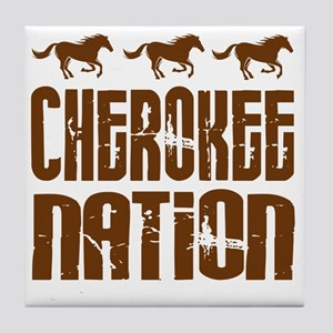 Cherokee Nation With Horses Tile Coaster